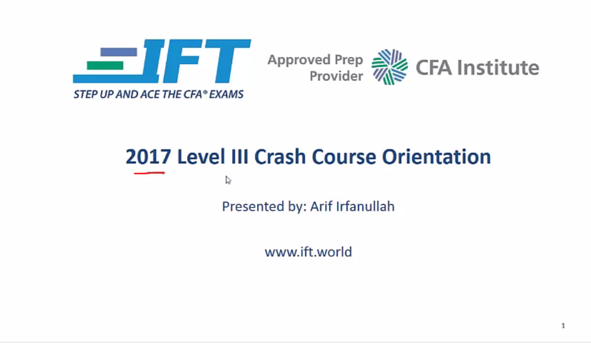 Level III Crash Course Orientation