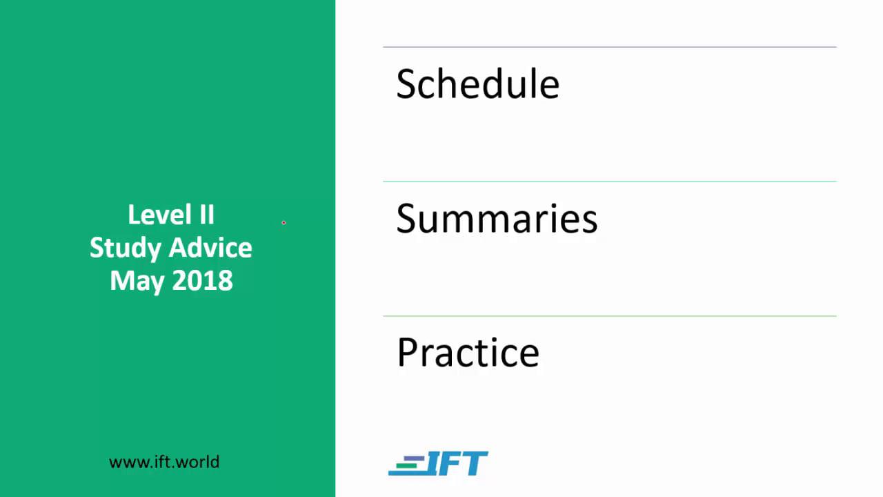Level II Study Advice – May 2018