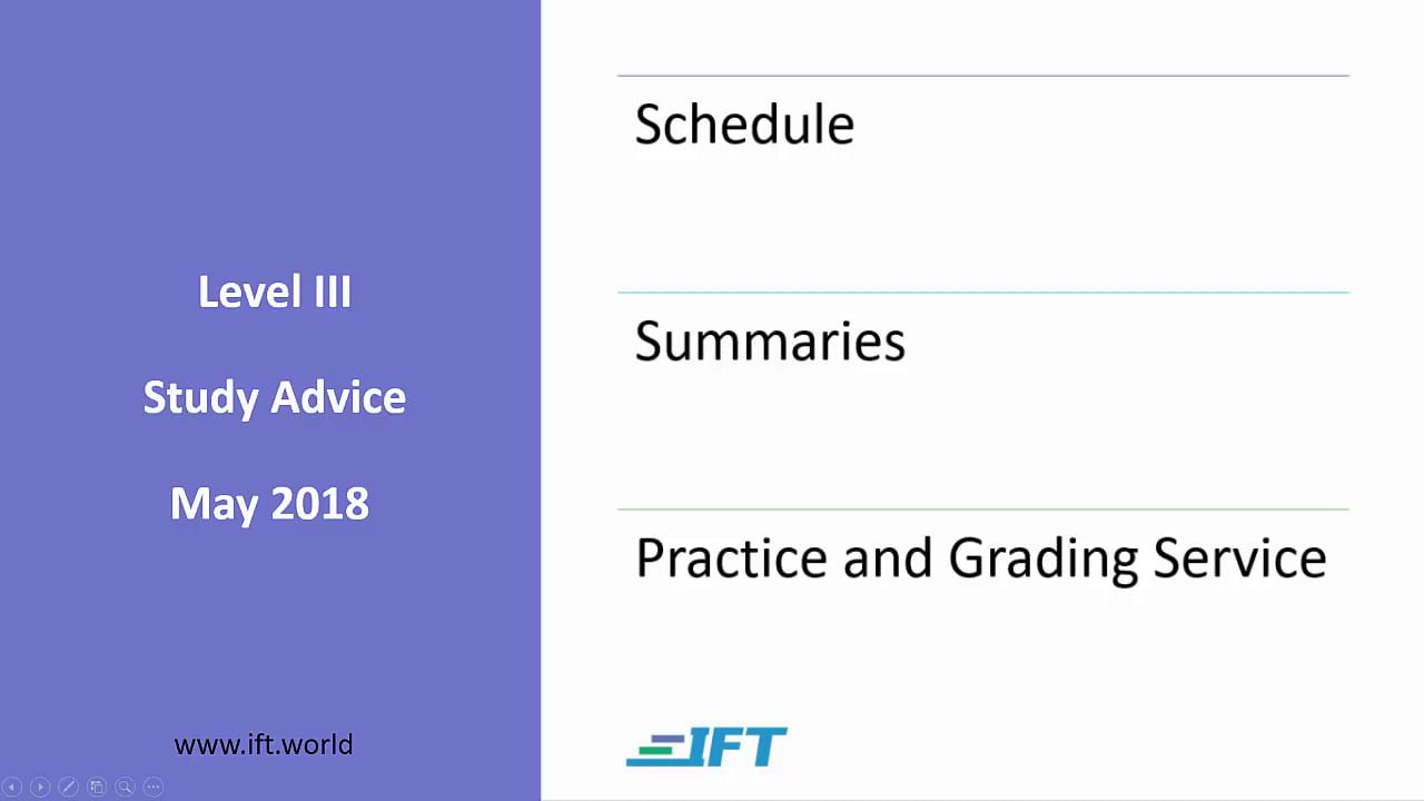 Level III Study Advice – May 2018