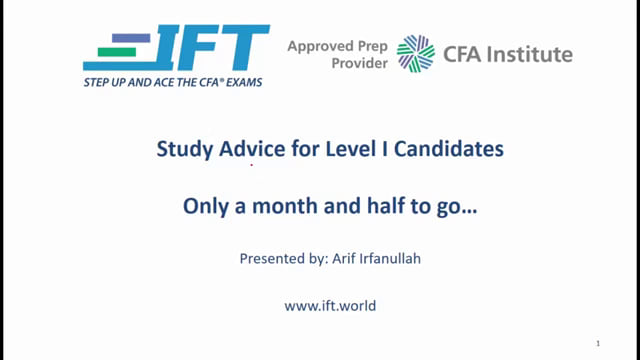 Level I Exam: Important Study Advice with 6 Weeks Left