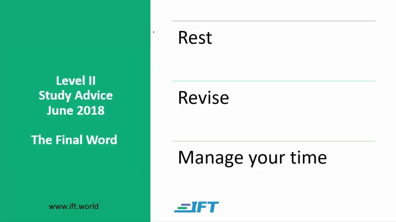 Level II Study Advice – June 2018 – Final Word