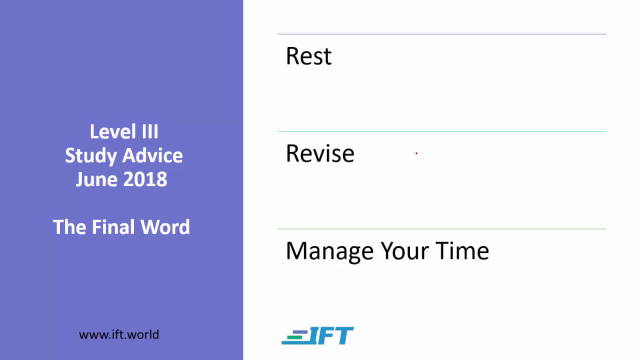 Level III Study Advice – June 2018 – Final Word
