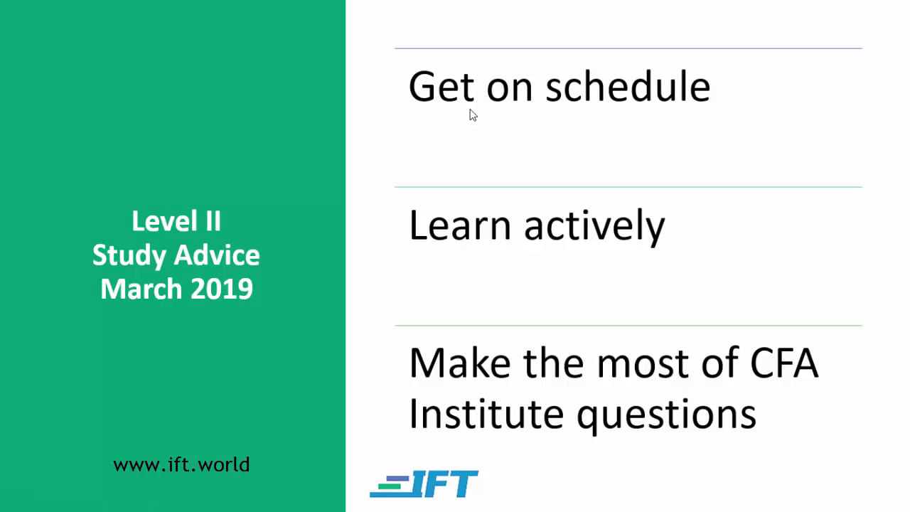 Level II Study Advice – March 2019