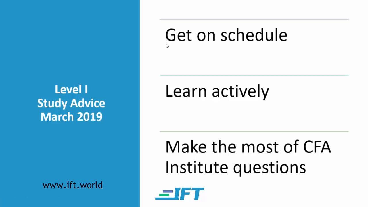 Level I Study Advice – March 2019