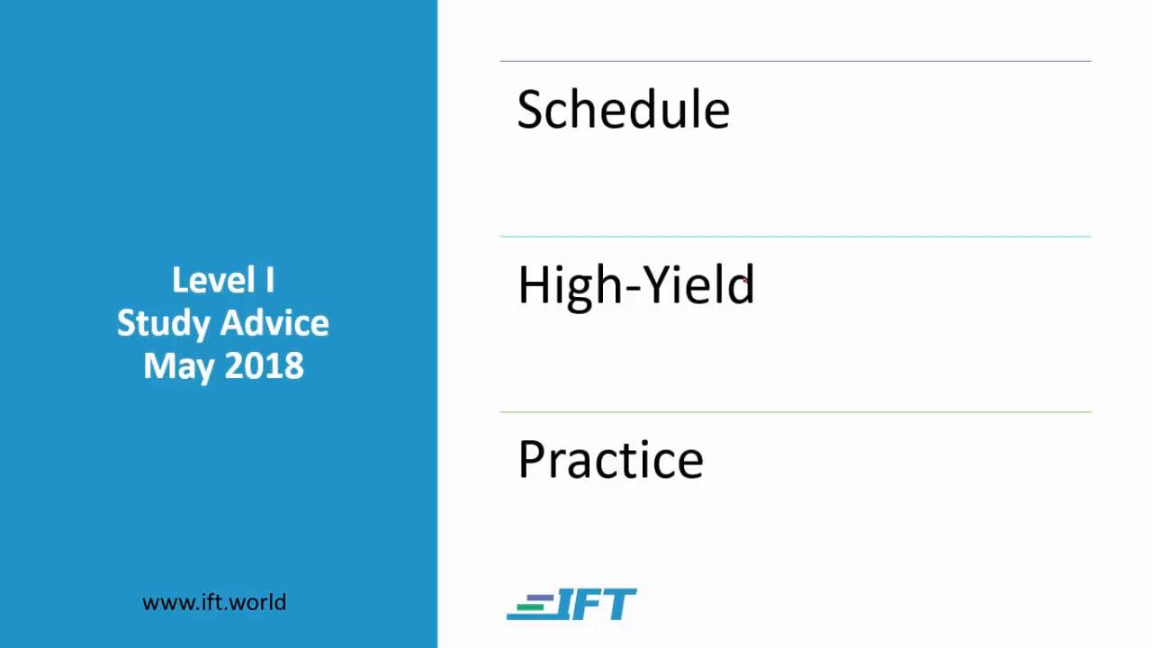 Level I Study Advice – May 2018