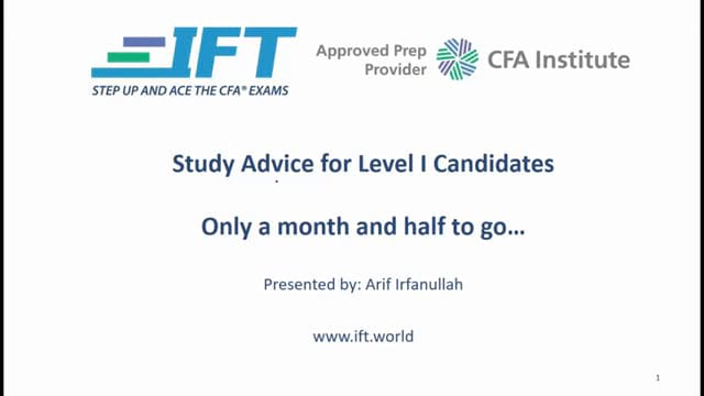 Level I CFA: 45 Days until the Level I Exam – Study Advice
