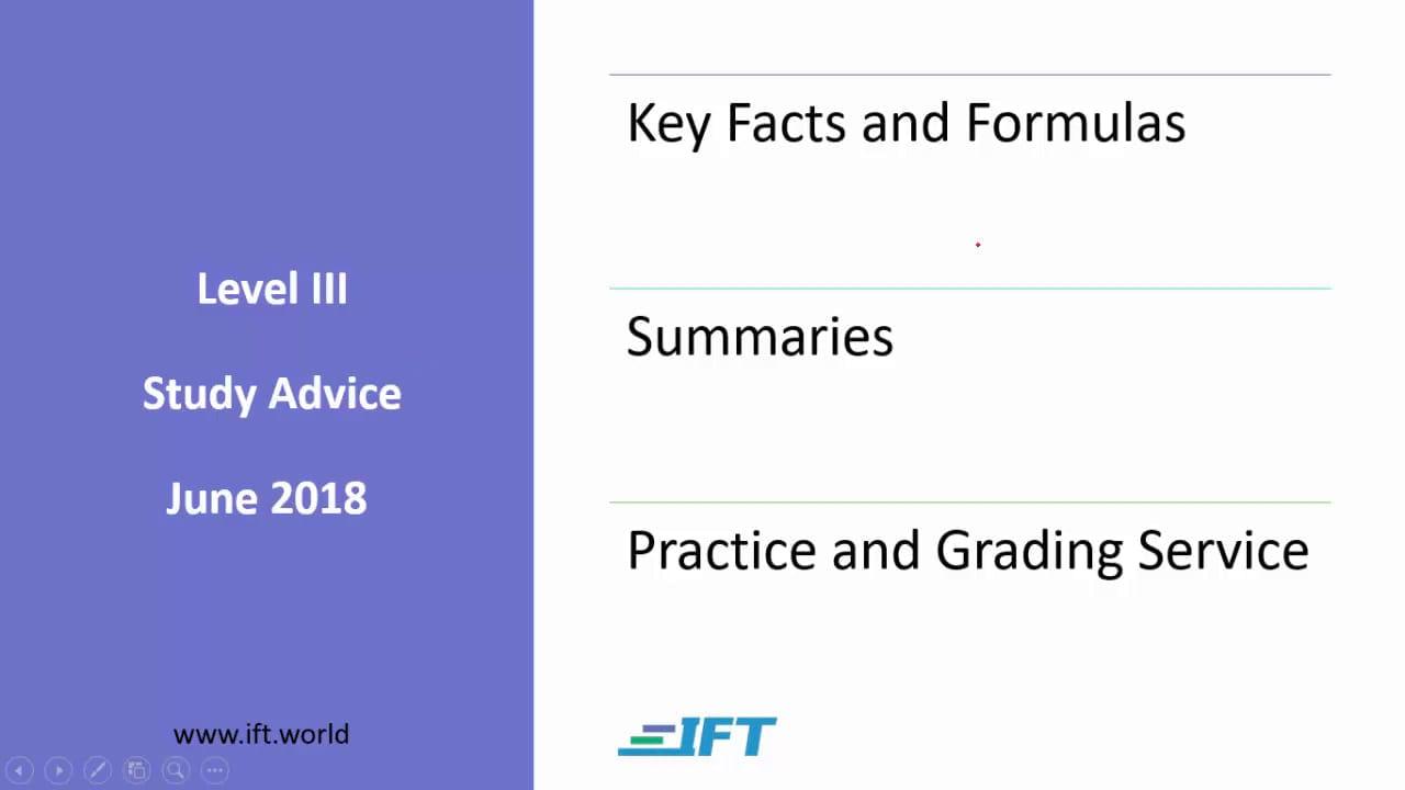Level III Study Advice – June 2018