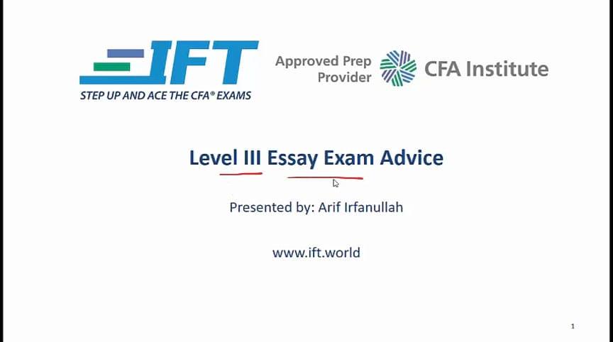 Level III Essay Exam Advice Video
