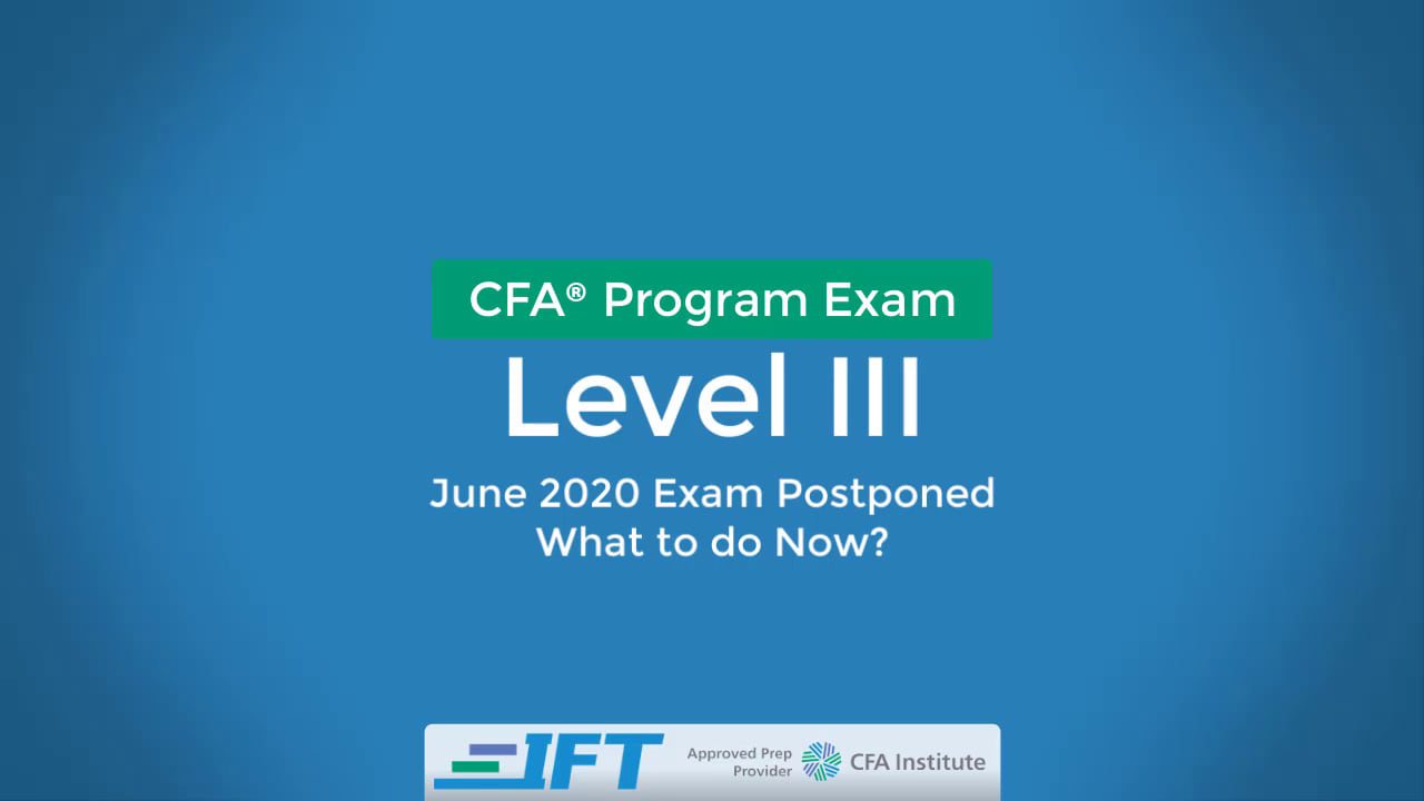 Level III CFA Advice: Covid-19 Late March 2020